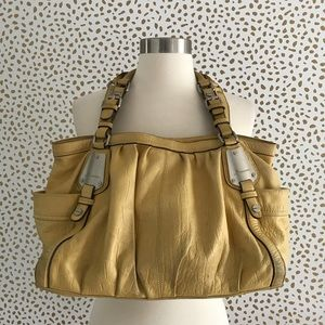 B. Makowsky Leather Bag Purse Yellow Leather